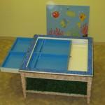 """Стол - песочница """"Озеро"""" с выдвижным шкафом и съёмной крышкой"""